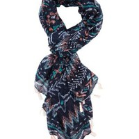 Navy Combo Tassel-Trim Tribal Print Wrap Scarf by Charlotte Russe