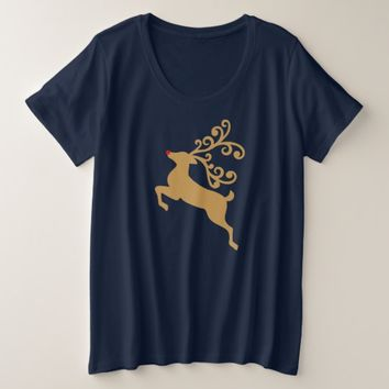 Golden Rudolph Reindeer Holiday Women's Shirt