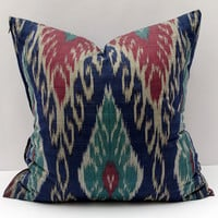 20x20, blue burgundy ikat pillow cover. cotton ikat pillow cover, ikat cushion, decorative pillow