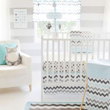 My Baby Sam Chevron Baby 3-Piece Crib Bedding Set in Aqua/Grey