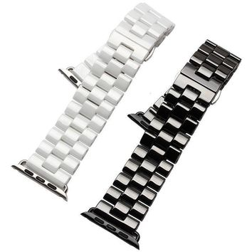 3 Beads Ceramic Watch Band for Apple Watch iWatch Strap for Series 2 & 1st Butterfly Buckle Ceramics Wristband 42/38mm Bracelet