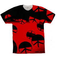 Mens black and red peace shirt