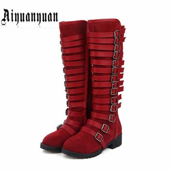 2017 elegant style EUROPEAN size to 40 41 42 43 44 45 46 women knee-high boots low heels lady shoes most countries free shipping