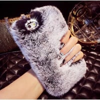 """Newest Bling Fluffy Soft Rabbit Hair Winter Phone case for iPhone 5s 6 6 6S 4.7"""" 6 6S plus 5.5"""" Soft Skin Phone Back housing"""