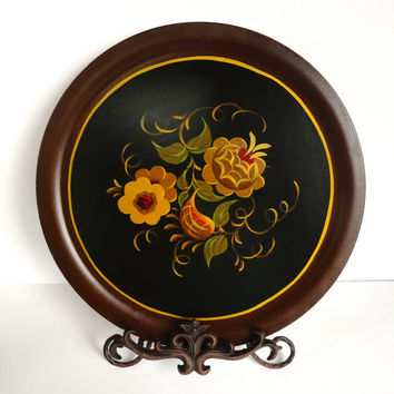 Hand Painted Tole Art Wooden Platter by Tom Fitz Simons