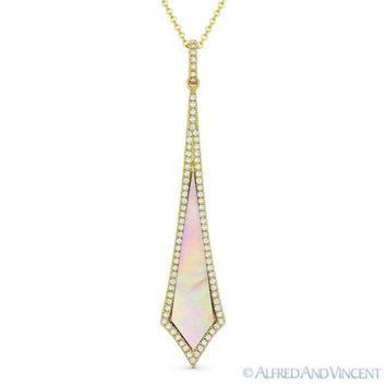 Pink Mother-of-Pearl & 0.18 ct Diamond 14k Yellow Gold Pendant & Chain Necklace