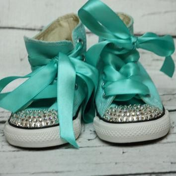 Bling Crystal Converse, Tiffany Blue with Clear Swarovski Crystal BLING Converse toddl