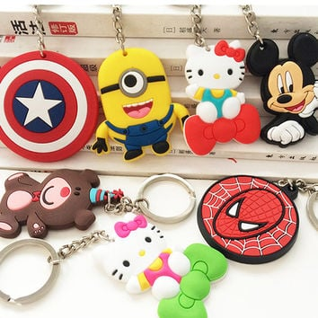 Key chain decoration soft PVC Captain America small yellow man jingle cats white mouse chinchilla Superman cartoon toy