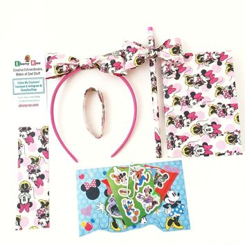 Minnie Mouse Hair Bow Headband Bracelet Gift Set - Pencil Notepad