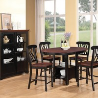 5 pc Addison II collection dark cherry finish wood top and black finish legs country style counter height round / oval dining table set