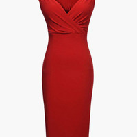 Sleeveless Ruched Strap Sweetheart Neckline Bodycon Midi Dress