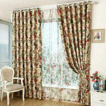 Window Curtain For Kitchen/ Living Room Blackout Curtain Floral Rustic Furnishing Customized Ready Made  Stone Patterns
