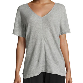 Short-Sleeve V-Neck Lounge Tunic, Heather Gray, Size: