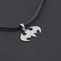 [Crazy 2016 Hot Fashion Jewelry Slippy Bat Batman Sign Pendant 316L Stainless Steel Necklaces leather chain Mens Necklaces [8824617223]