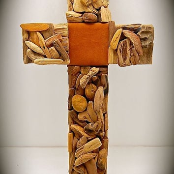 "Handmade Wood Cross Created with Driftwood, Reclaimed Cedar, Petrified Wood, Reclaimed light Brown Suede Leather  18""x9.5"""