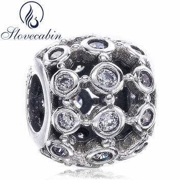 Slovecabin Openwork Heart Charms Beads Fits For Pandora Bracelet Vintage 925 Sterling Silver Net Beads DIY Jewelry Marking