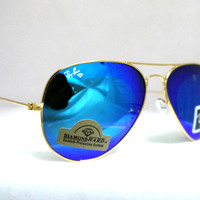 mysunglasses — Rayban Aviator RB3025 Sunglasses Large Metal Cristal Blue Diamond Hard Sunglass