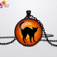 Halloween black cat necklace Halloween cat pendant  Halloween jewelry Trick or Treat Halloween Pendant Halloween  jewelry black orange