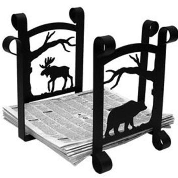 Wrought Iron Bear & Moose with Tree Magazine Storage-Newspaper Rack