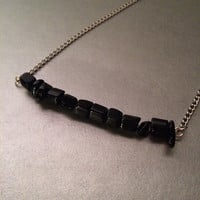 Black onyx chip bar necklace
