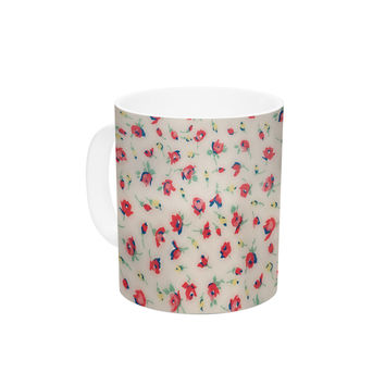 "Robin Dickinson ""Vintage Flower Love"" Red Pink Ceramic Coffee Mug"