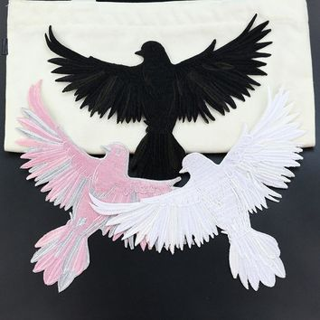 Eagle embroidery animal stickers bird applique sew on coat diy craft iron on transfers for clothing repair patches garment cloth