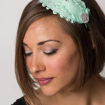 Flapper Girl Bridesmaid Mint Vintage Style Feather Headband with Swarovski Crystals-Wedding Hair Piece, 1920s Woman