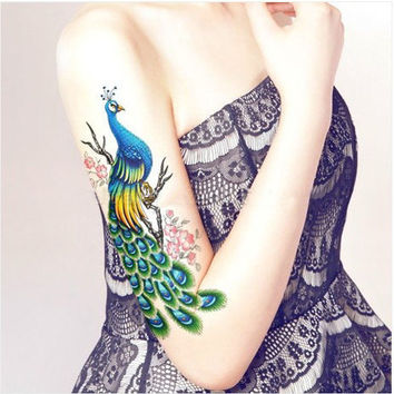 Peacock Illustration Big Arm Tattoo Temporary Paper For Girls Artistic Pinup Photo Shoot
