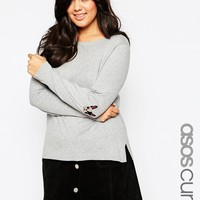 ASOS CURVE Boxy Jumper With French Bulldog Elbow Patch at asos.com