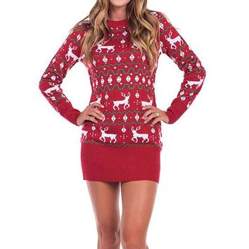 Women Ladies Casual Xmas Christmas Wool Dress Print Long Sleeve O-Neck Mini DressesRed Color