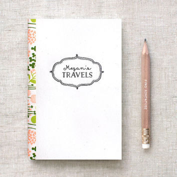 Travel Journal - Graduation Gift - Floral Journal, Illustrated Personalized Journal Sketchbook Notebook - Two Sizes / 3 Floral Trim Choices