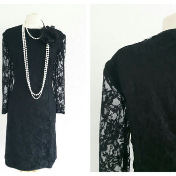 Vintage Black Lace Cocktail Dress - Gatsby, Charleston, 20s style