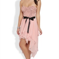 Strapless Two Tone Short Prom Dress with Hanky Hem Skirt