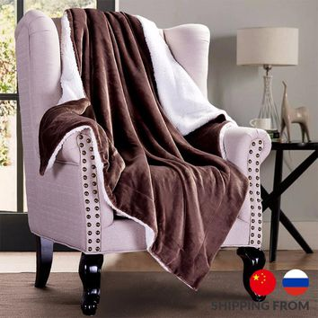 2017 Soft Warm Blanket Coral Sherpa Blankets Travel Sofa Solid Color Fleece Blankets For Bed Soft Fluffy Warm Cobertor