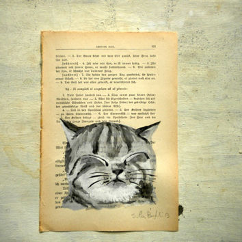 cat portrait original painting in watercolor and tempera on page of antique book, pet portrait for cat lovers