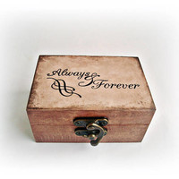 Always & Forever Box Proposal box Wooden box Personalized wedding ring box Brown box Ring box pillow Mos ring box Custom wedding Ring holder