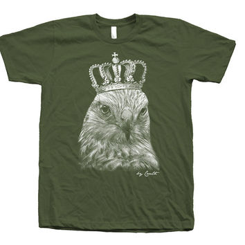 HAWK Tshirt Custom Hand Screen Printed Screen Print on American Apparel Crew Neck Available: S , M , L , XL , XXL