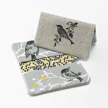 Business Card Case, Credit Card Holder, Fabric Gift Card Wallet in Tranquil Birds