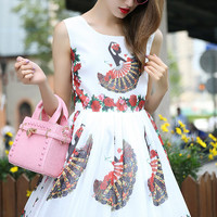 White Dancer Print Sleeveless Pleated Mini Dress