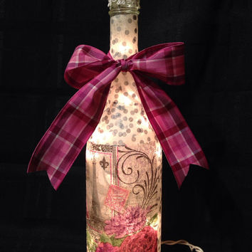 Paris wine bottle light, bottle lamp, night light, accent lamp