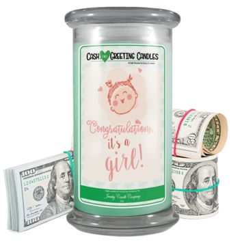 Congratulations, It's A Girl! | Cash Greeting Candle