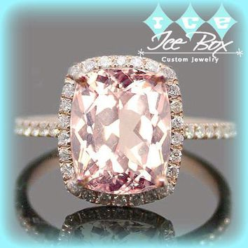 Morganite Engagement Ring 8 x 10mm Cushion Cut Morganite Set in a 14k Rose Gold Diamond Halo