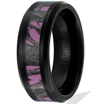 8MMTitanium Ring Wedding Band Black Plated Camouflage on Pink