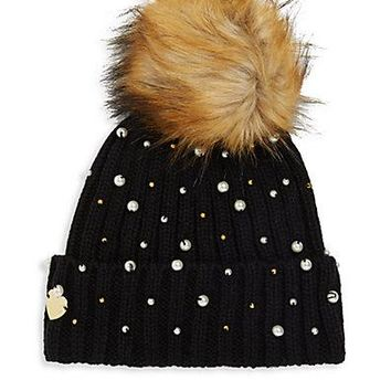 Betsey Johnson Faux Fur Pompom Beanie Black Hat