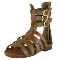 Kids Flat Sandals Girls Mid Calf Strappy Buckles Open Toe Gladiators Tan