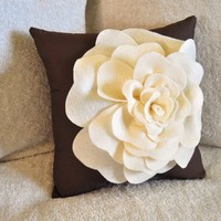 Cream and Brown Decorative Pillow Rose Pillow 14 x14 by bedbuggs