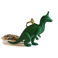 Dinosaur keyring key chain bag charm upcycled repurposed vintage toy gift