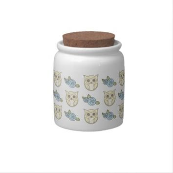 Retro Cute Owls & Roses Pattern Candy Jars for Her: Lovely Gift Idea for Her Birthday or Mother's Day