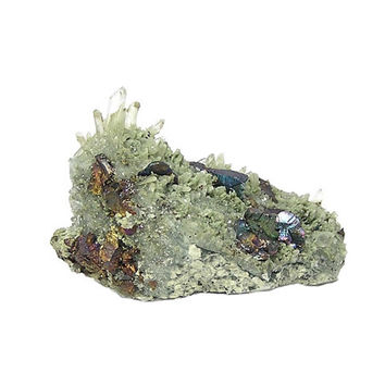 Green Quartz Rock Crystal Cluster Chlorite Inclusion with Metallic Peacock Rainbow Chalcopyrite on Matrix Mineral Specimen Mined in Mexico