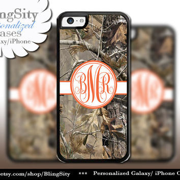Camo Orange Monogram iPhone 5C 6 Plus Case iPhone 5s 4 case Ipod Realtree Personalized Country Inspired Girl